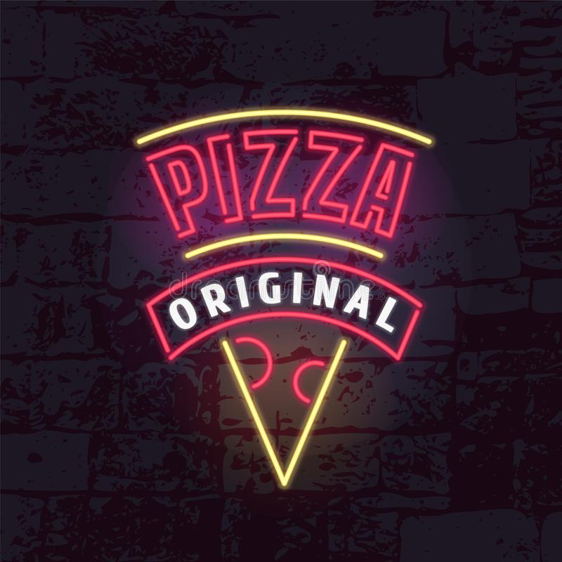 Neon sign for pizza restaurant vector logo, icon. Design element with bright neon electric lights can be used as emblem for pizza delivery stock illustration