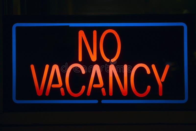 Neon sign reads No Vacancy stock photos