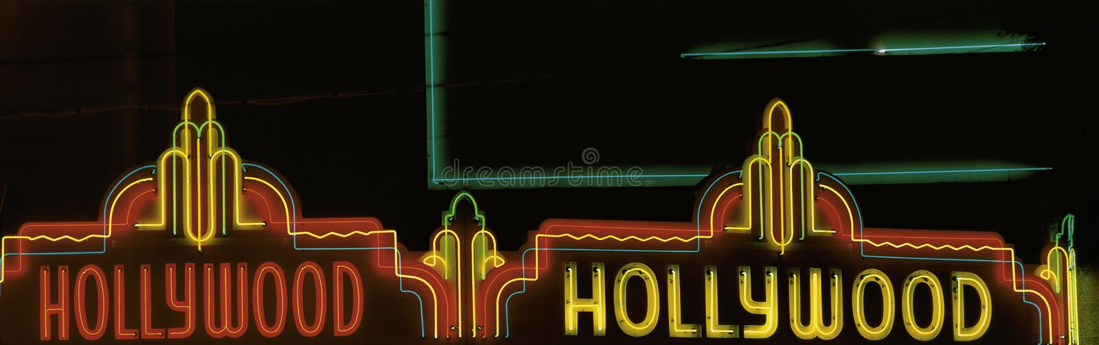 Neon sign that says Hollywood stock photos