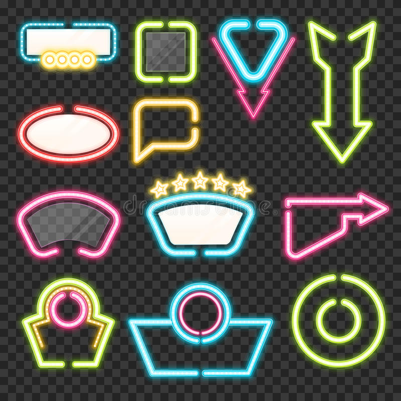 Neon Sign Set. With illuminated arrows and advertising templates on transparent background isolated vector illustration vector illustration
