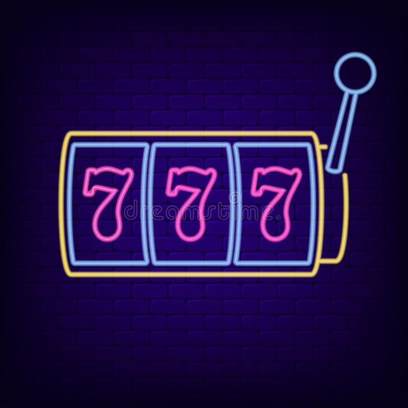 Neon sign of slot machine with lucky sevens jackpot. Casino gaming machine - night light neon signboard. Vector. stock illustration
