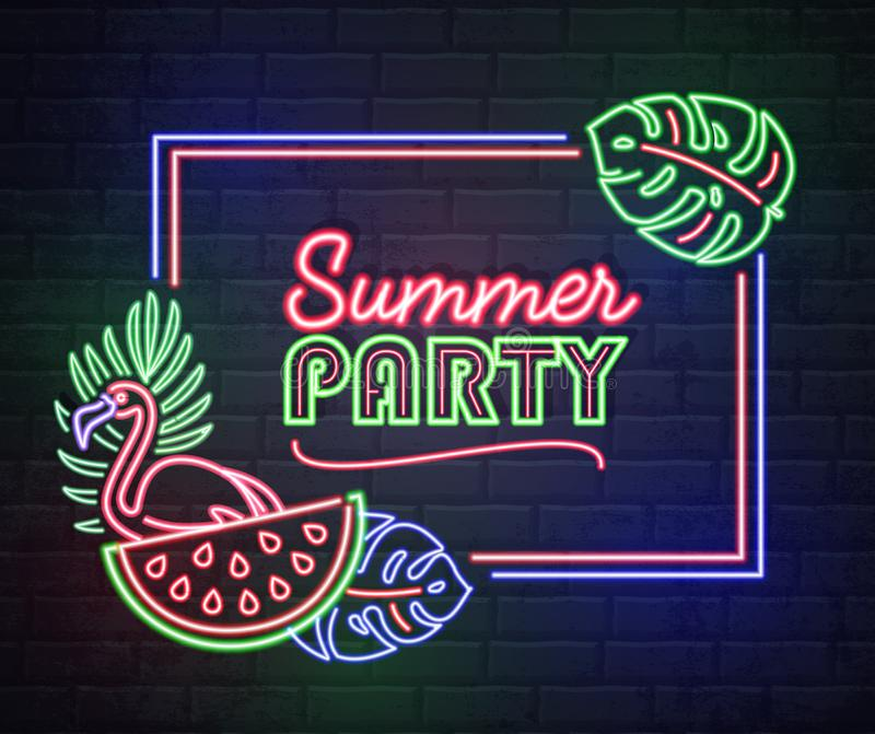 Neon sign summer party with fluorescent tropic leaves, flamingo and watermelon. Vintage electric signboard vector illustration