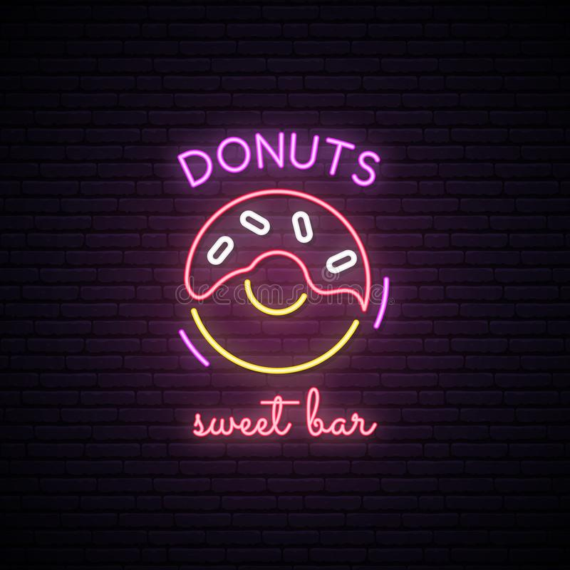 Neon sign of Sweet Donuts. Neon cafe emblem, bright banner. Advertising design. royalty free illustration