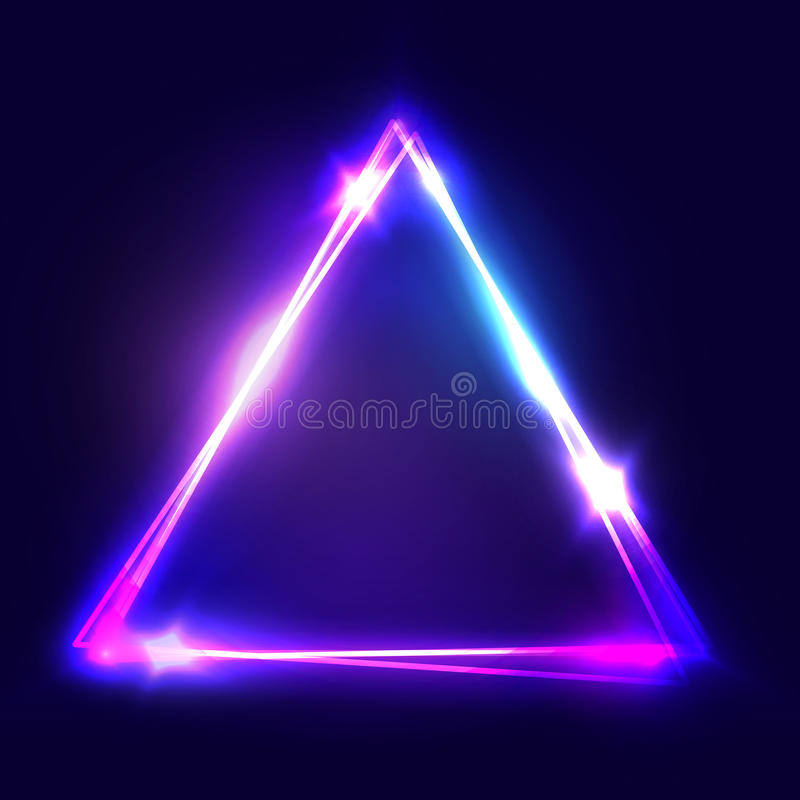 Neon sign. Triangle background. Glowing electric abstract frame on dark backdrop. Light banner with glow. Bright vector. Illustration with flares and sparkles stock illustration