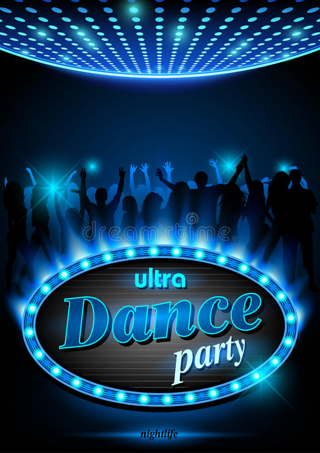 Neon Sign Ultra Dance Party stock illustration