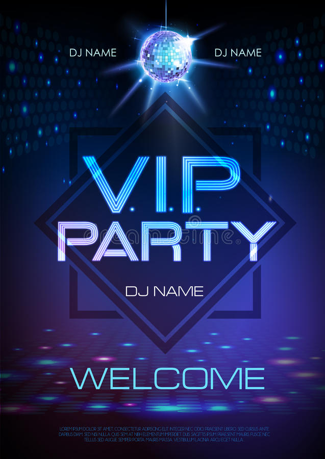 Neon sign. V.I.P. party. Disco poster. Neon sign. VIP party. Blue Disco poster royalty free illustration