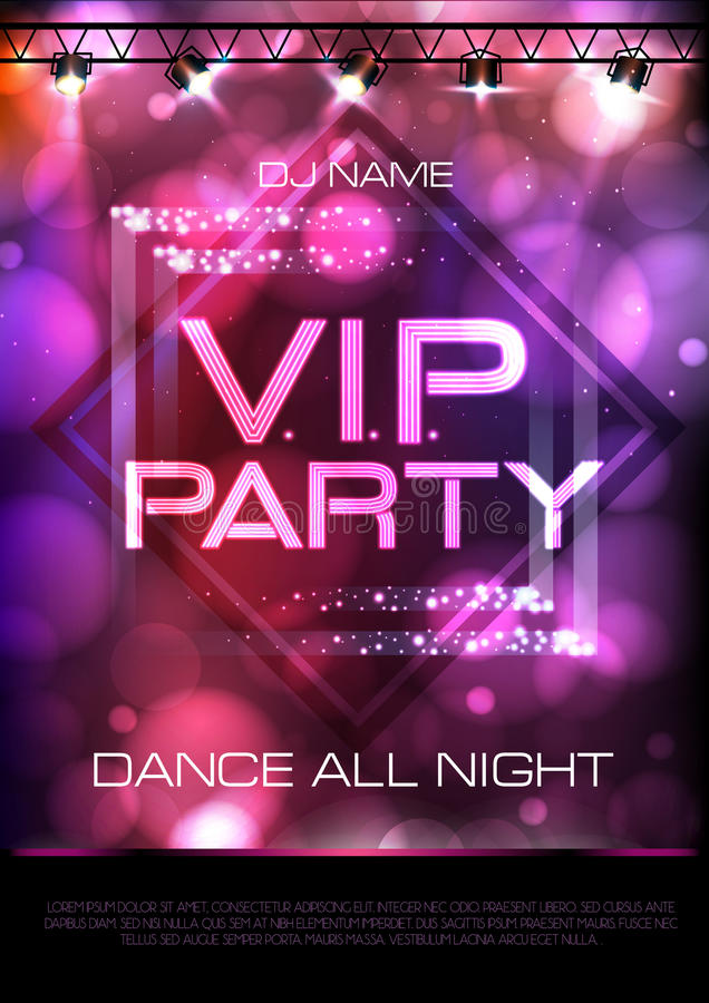 Neon sign. V.I.P. party. Disco poster. Neon sign. VIP party. Pink Disco poster stock illustration