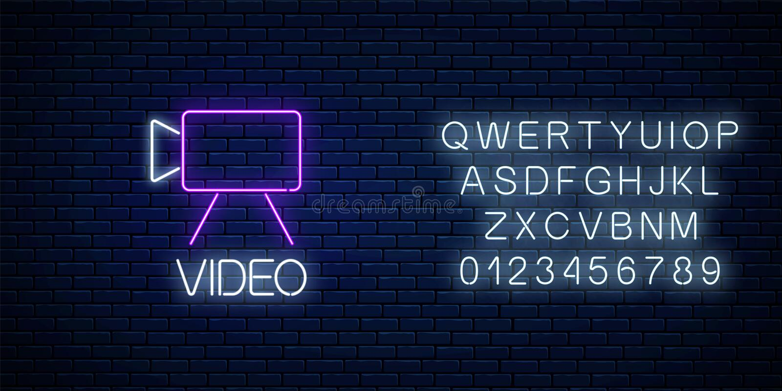 Neon sign of video camera symbol with text and alphabet. Video shooting camera sign stock illustration