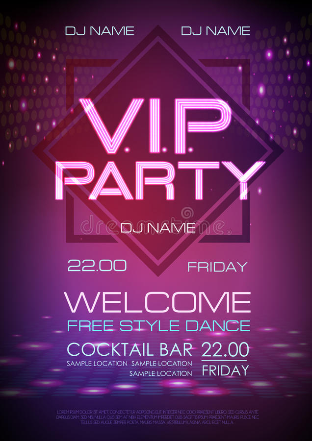 Neon sign. VIP party. Disco poster. Neon sign. VIP party. Blue Disco poster stock illustration