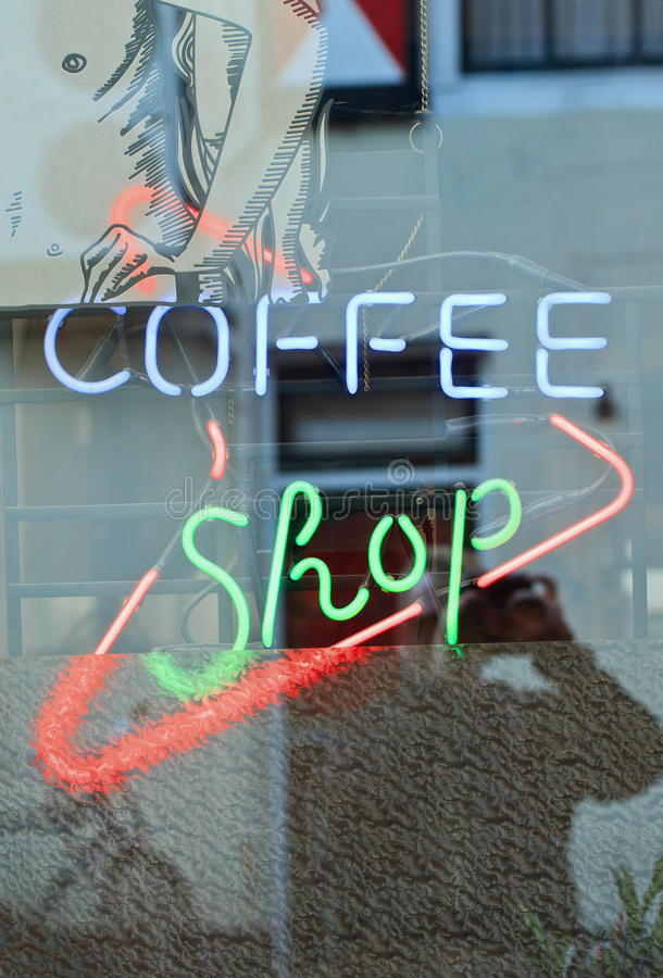 Neon signage of a coffee shop, Breda, Netherlands stock images