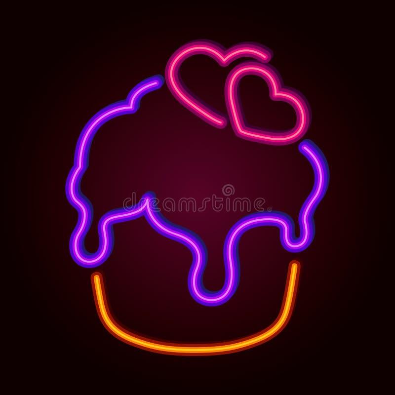 Neon Signal Cupcake ilustração royalty free