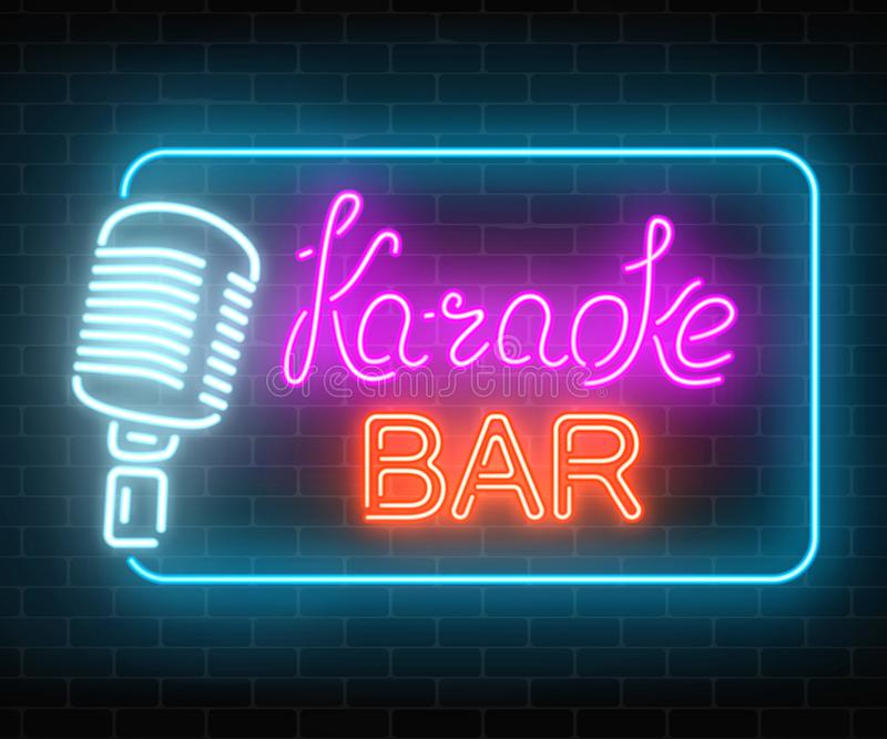 Neon signboard of karaoke music bar. Glowing street sign of a nightclub with live music. Sound cafe icon. stock illustration