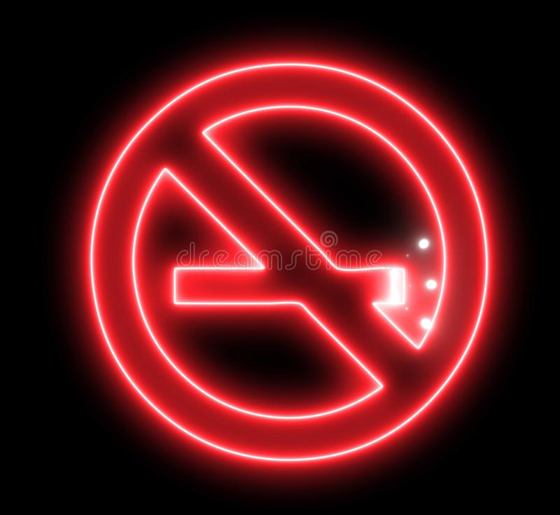 Neon signboard of `NO SMOKING`. Shiny glowing light and warning about unhealthy habit.  royalty free illustration