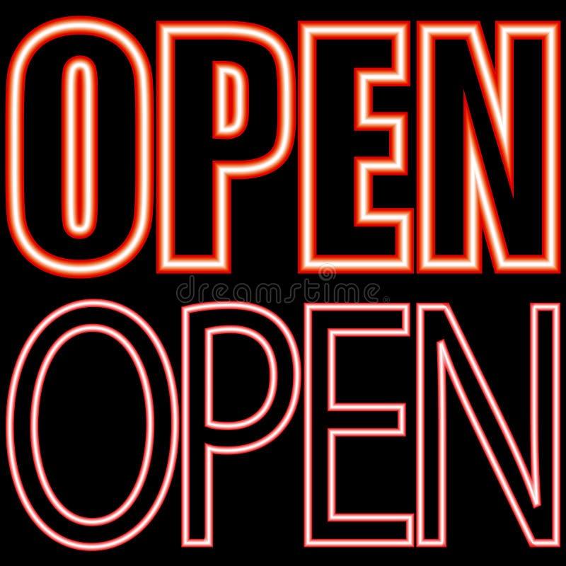 Neon signboard open stock images