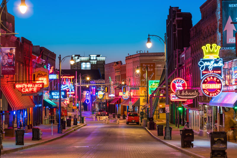 Neon signs on Beale street. MEMPHIS, USA - NOV 12: Neon signs of famous blues clubs on Beale street on November 12, 2016 Beale street is a place for blues stock photos