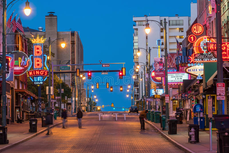 Neon signs on Beale street. MEMPHIS, USA - NOV 12: Neon signs of famous blues clubs on Beale street on November 12, 2016 Beale street is a place for blues royalty free stock photography