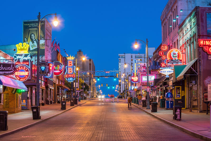 Neon signs on Beale street. MEMPHIS, USA - NOV 12: Neon signs of famous blues clubs on Beale street on November 12, 2016 Beale street is a place for blues royalty free stock images