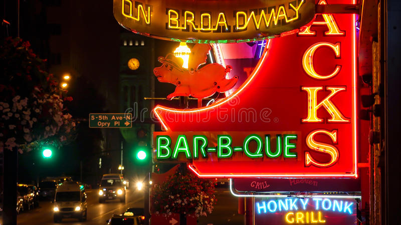Neon Signs at Night on Broadway Street in Nashville, Tennessee stock photography