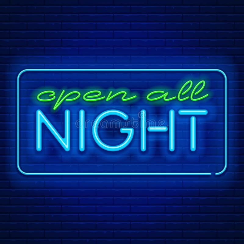 Neon signs open all night. Blue neon light glowing sign Open all night against a brick wall background. Vector illustration stock illustration