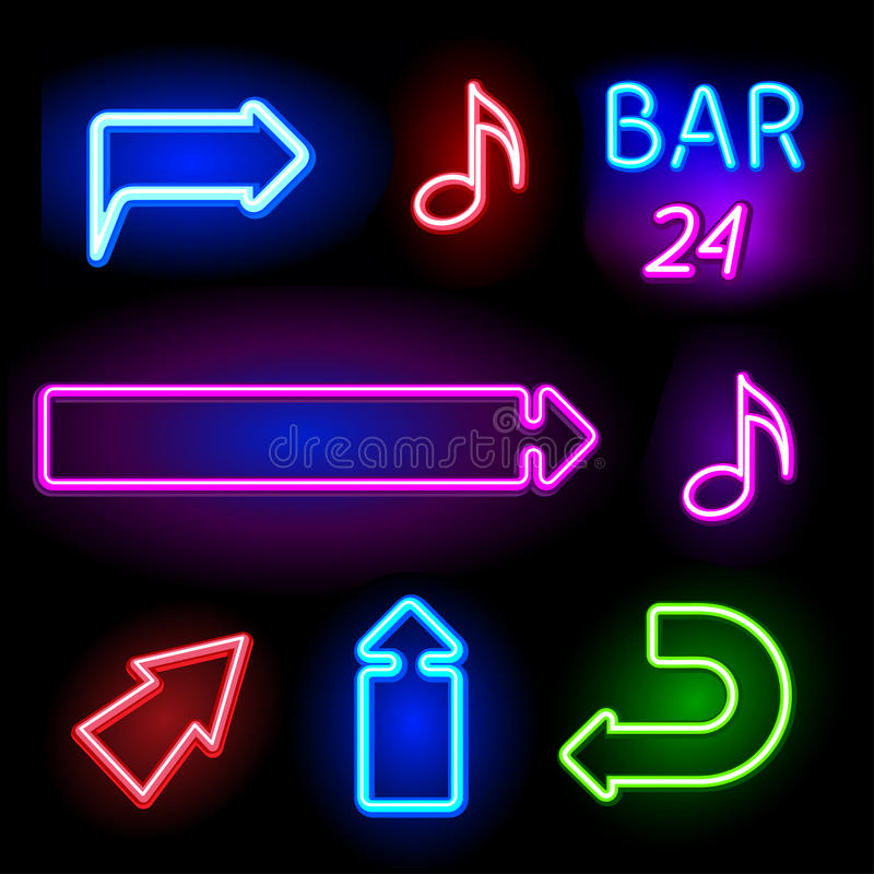 Neon signs set. Set of color neon signs