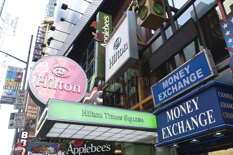 Download Neon signs in times square editorial image. Image of times - 28432370