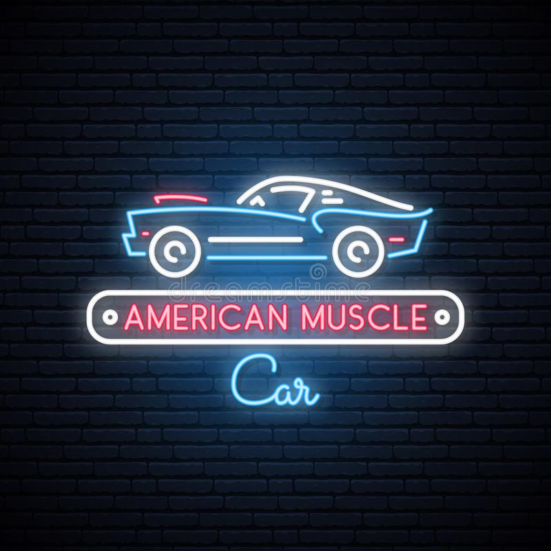 Neon silhouette of classic American muscle car. Glowing sign. vector illustration