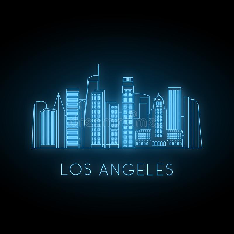 Neon silhouette of Los Angeles city. Glowing blue city landscape. Vector banner stock illustration