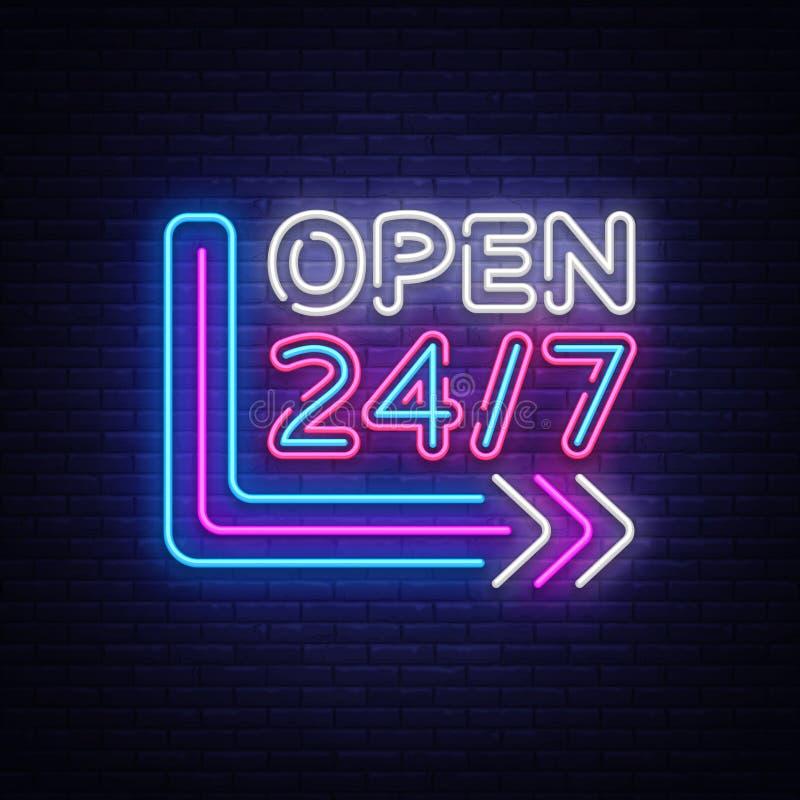24 7 Neon Sinboard Vector. Open all day neon sign, design template, modern trend design, night signboard, night bright vector illustration