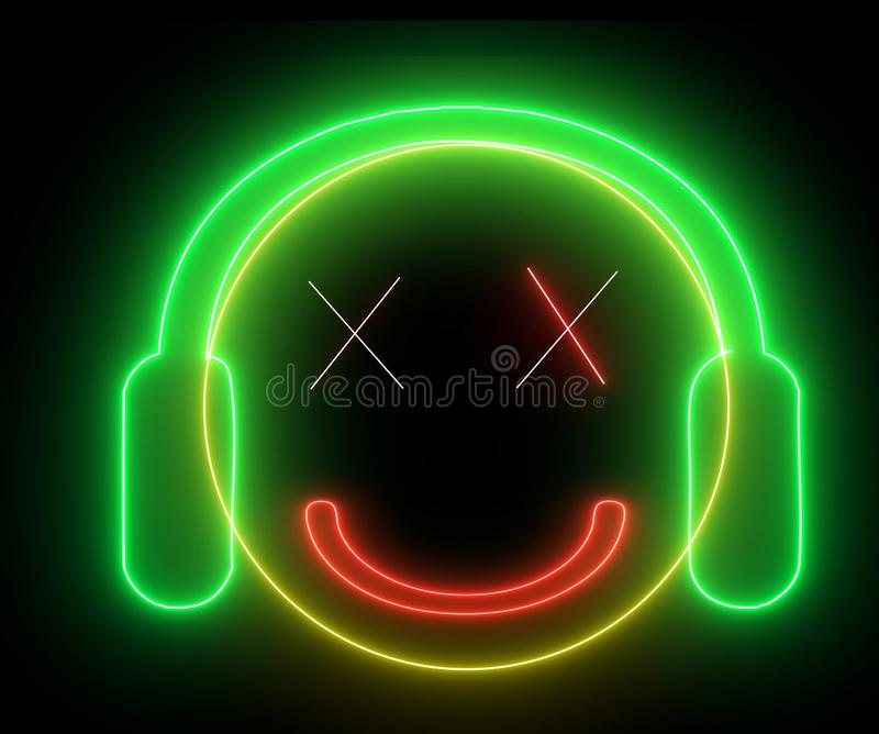 Neon smiley face with headphone. Gamer, DJ emoji, playing game or listening music. Happy glowing face vector illustration