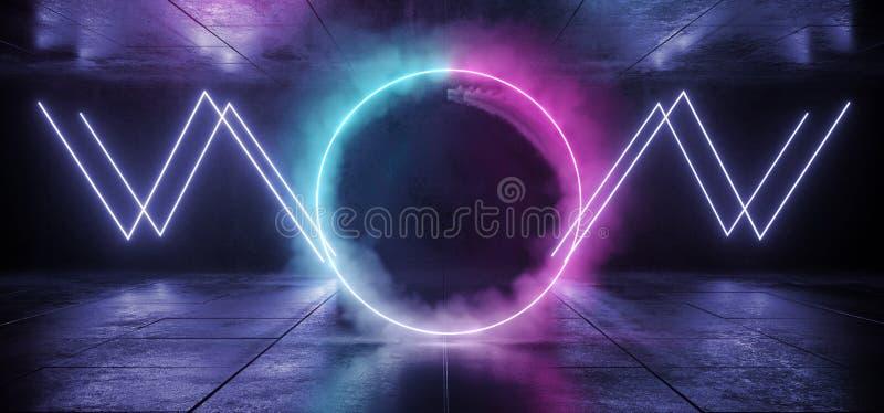 Neon Smoke Circle Gradient Glow Purple Blue Lines Shapes Sci Fi Futuristic  Concrete Grunge Reflective Background Empty Dark Cyber vector illustration