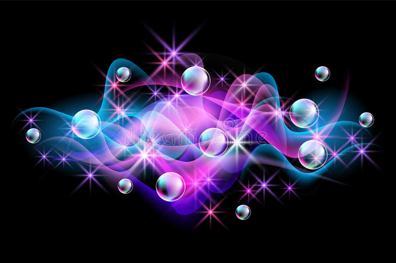 Neon smoke and spectacular bubbles royalty free illustration