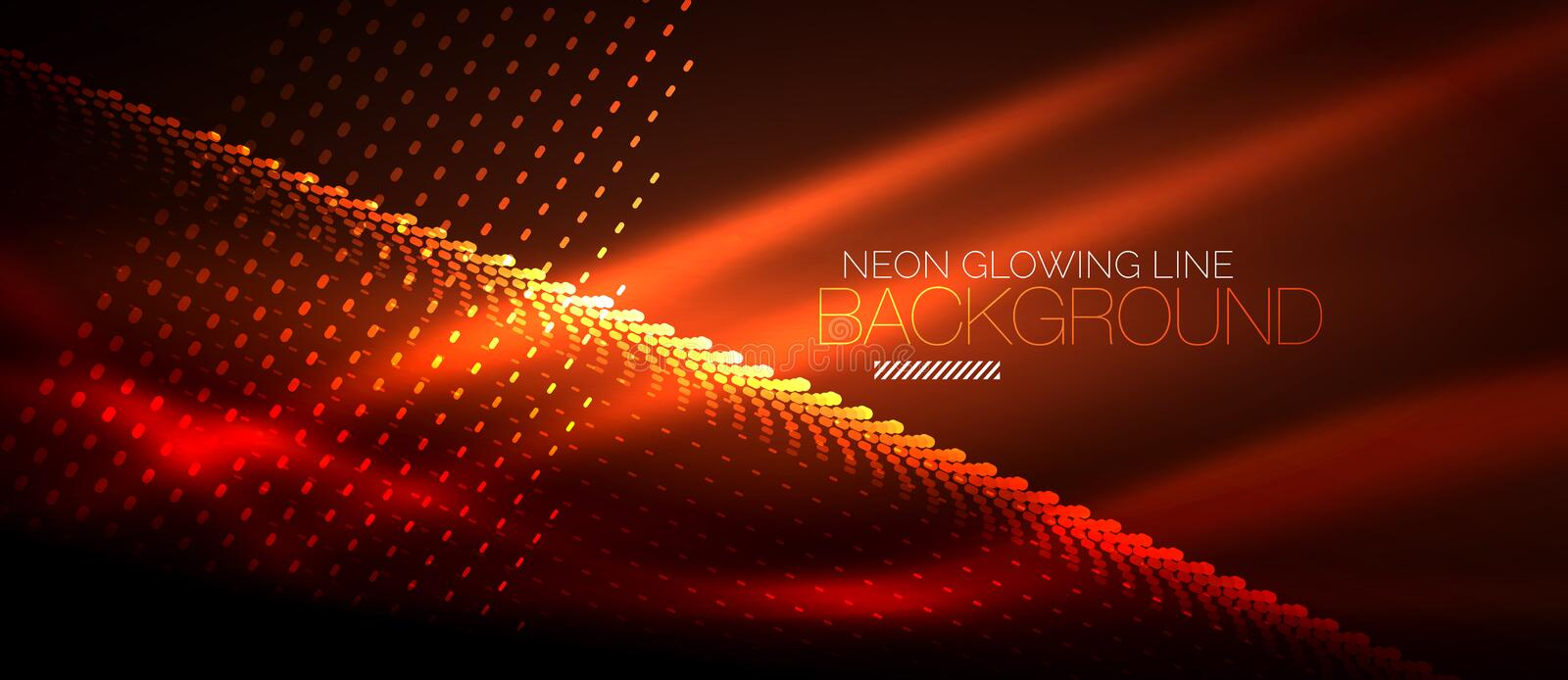 Neon smooth wave digital abstract background. Neon orange vector smooth wave digital abstract background vector illustration