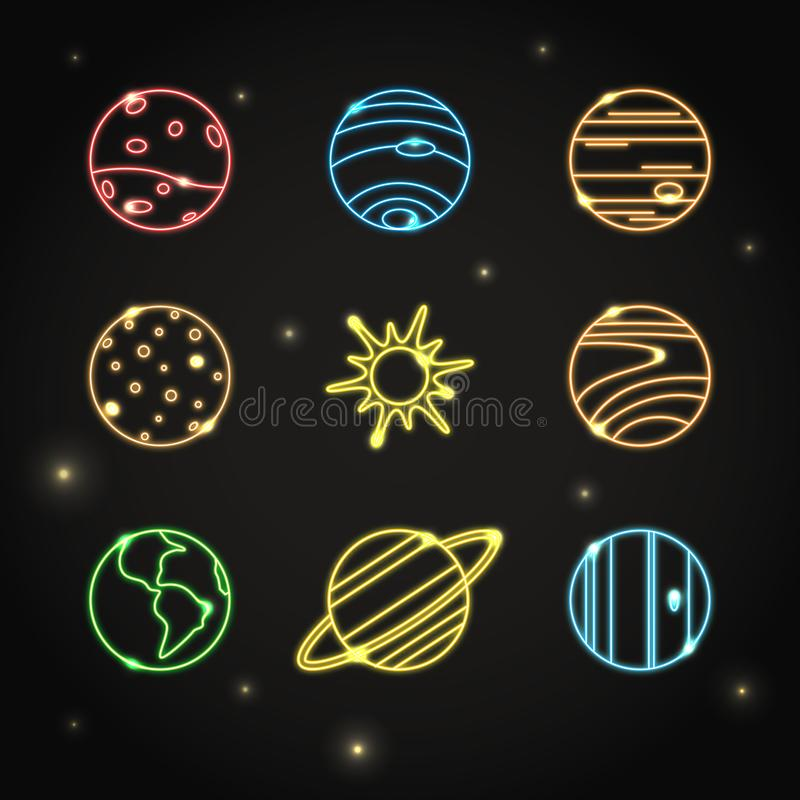 Free Neon Solar System Planets Icon Set In Line Style Royalty Free Stock Photography - 124807127