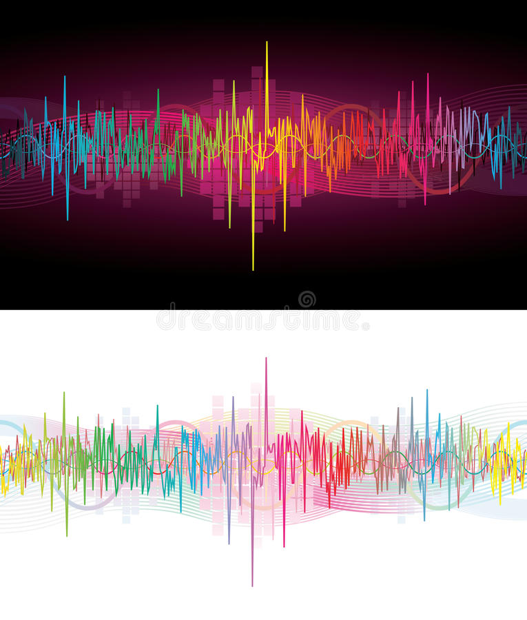 Neon sound waves. Two for one brightly colored sound waves on black or white, room for text royalty free illustration