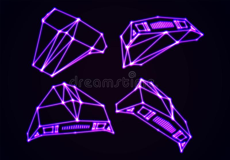 Neon space ships set of attacking invaders or defending fighters with 80s retro arcade game style and laser contour. Neon space ships set of attacking invaders stock illustration