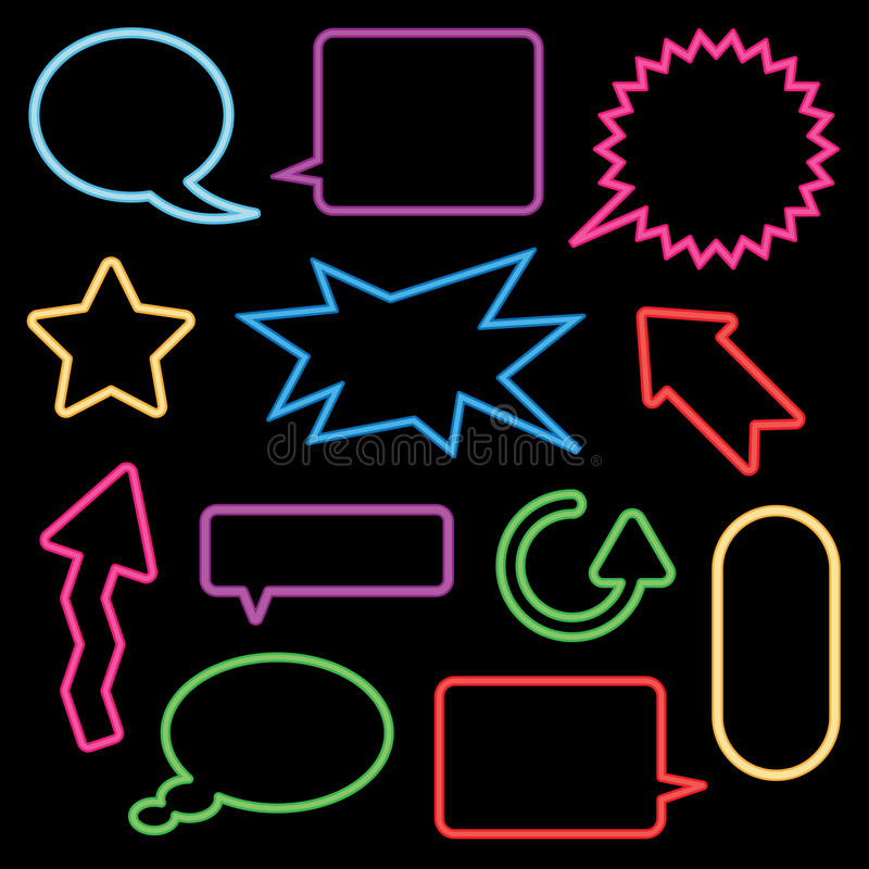 Free Neon Speech Bubbles And Signs Royalty Free Stock Image - 11407316