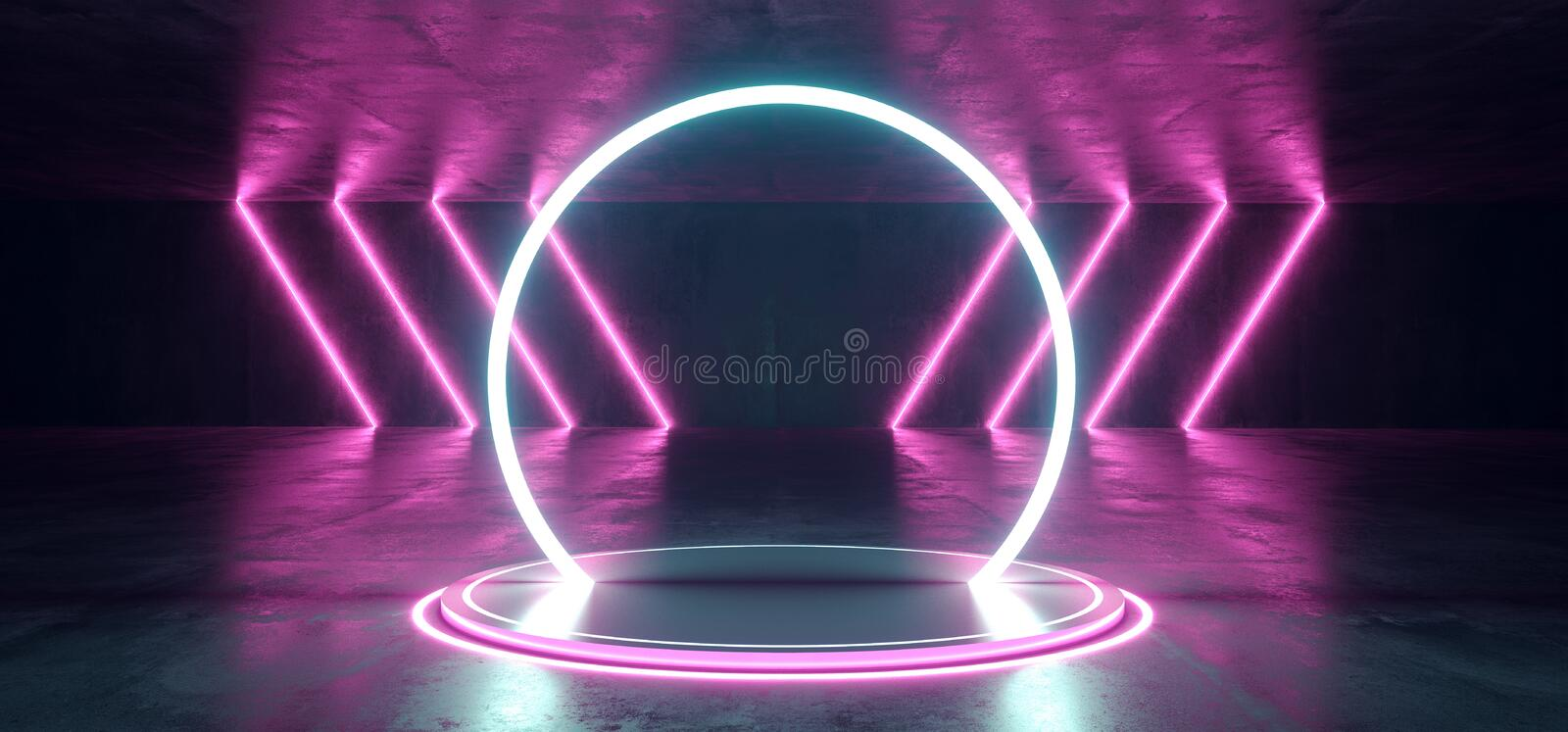 Neon Stage Showroom Concept Dark Sci Fi Alien Grunge Concrete Room Reflective Texture And Abstract Pink Blue Purple Abstract Led vector illustration