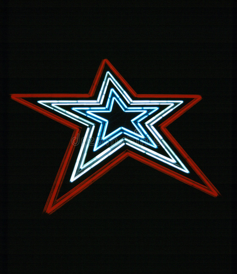 Neon Star. This is big neon star is about a hundred feet tall and is located on Mill Mountain in Roanoke Virginia off the Blue Ridge Parkway royalty free stock images
