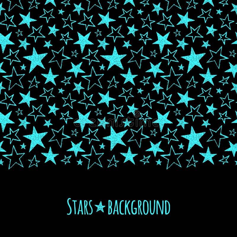 Neon stars border seamless in horizontal direction vector illustration