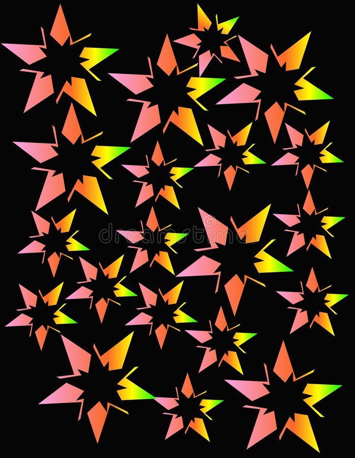 Neon stars exploding in an abstract design