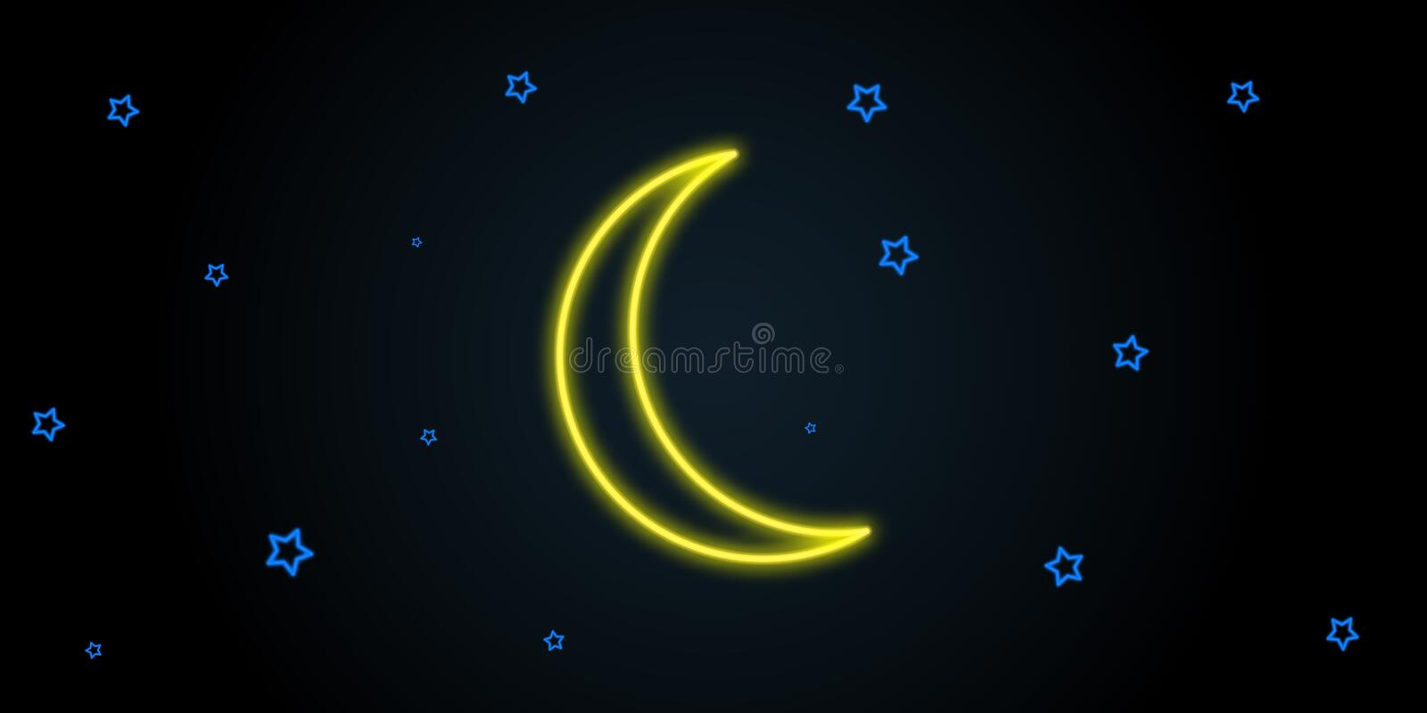 Neon stars purple light black moon illustration. Element of neon background vector illustration