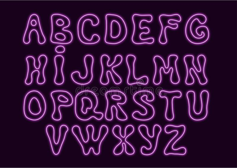 Neon style alphabet with hand drawn letter shapes in purple color on dark violet background. Vector illustration royalty free illustration
