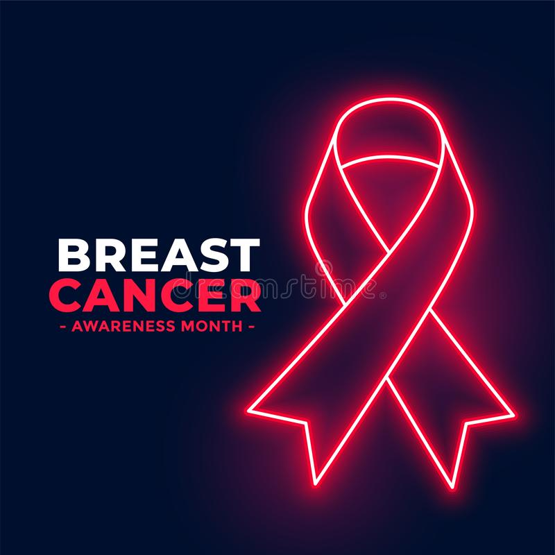 Neon style breast cancer awareness month poster design. Vector royalty free illustration