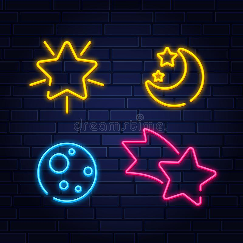 Neon style night sleep icon set with comet, star and moon. Vector illustration vector illustration