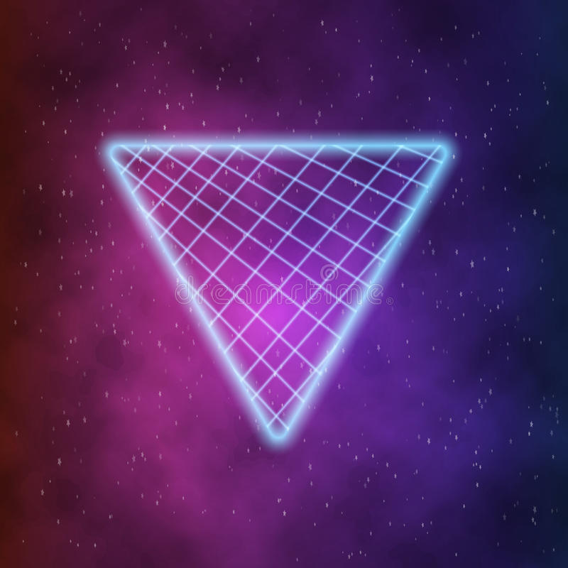 Neon Style Triangle Techno Background. Outer Space Poster royalty free illustration