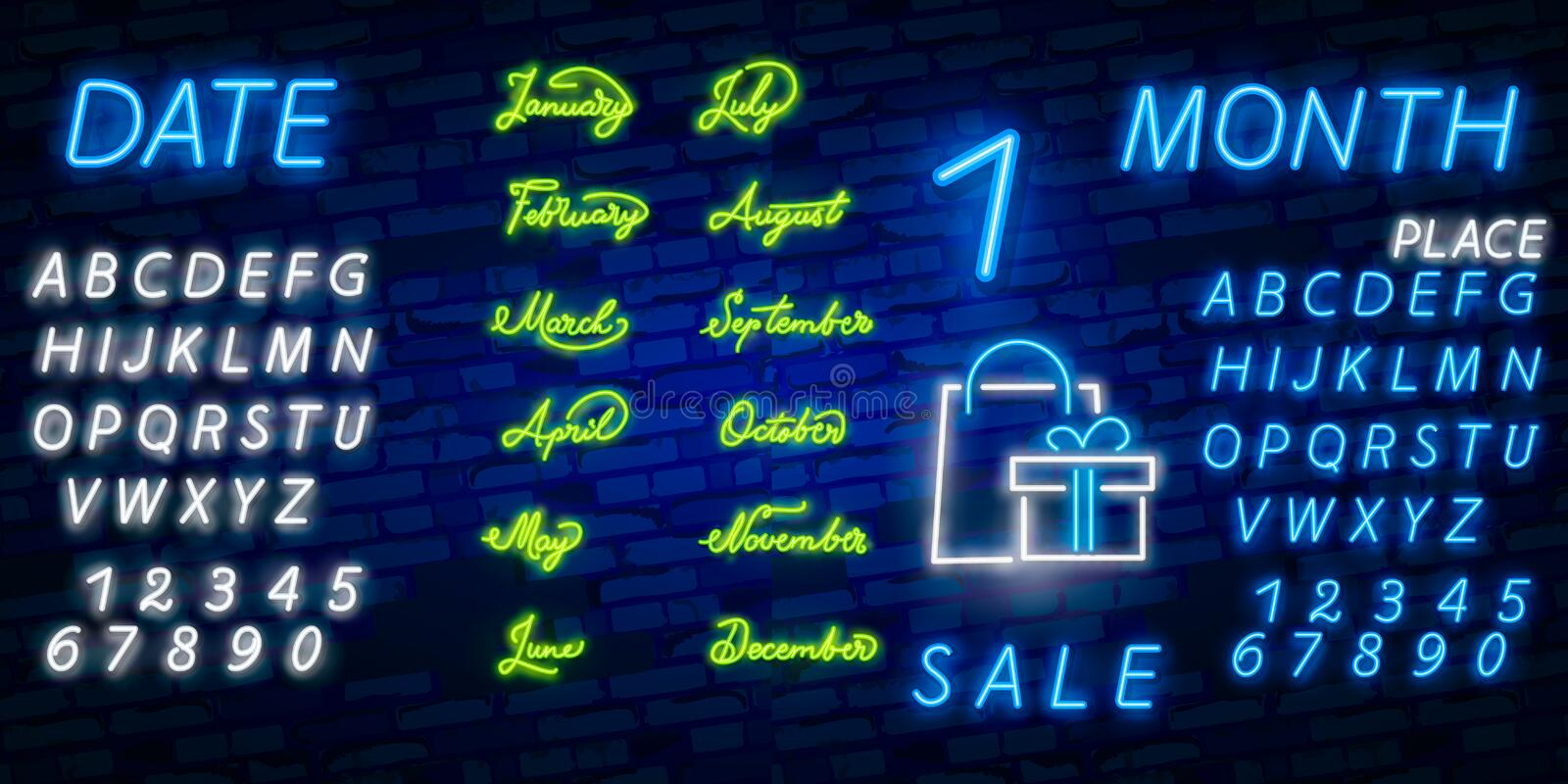 Neon symbol for all Month Name with colorful elements : Vector Illustration. Glowing neon sign, bright glowing advertising, sales. Neon symbol for all Month Name stock photography
