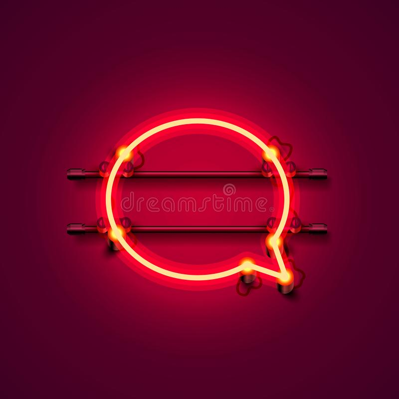 Neon symbol chat color red city signboard. stock illustration