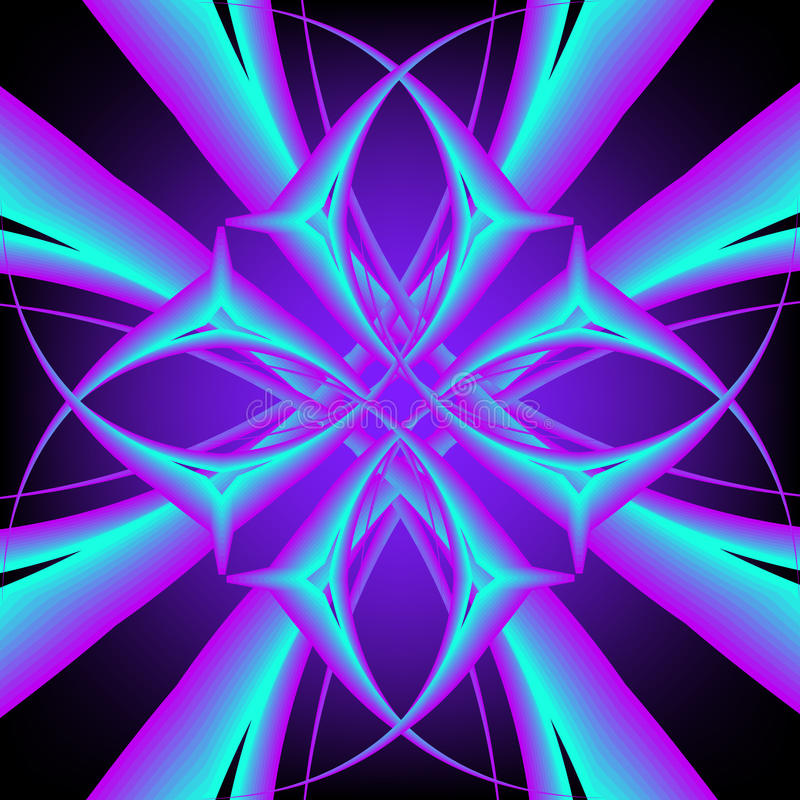 Neon symmetric pattern vector illustration