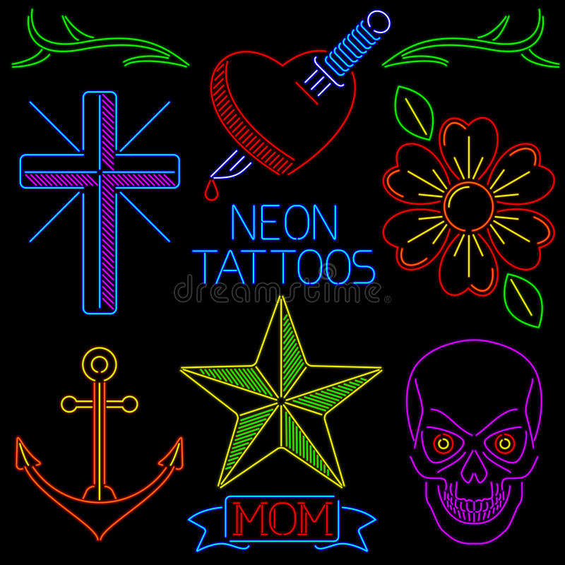 Download Neon Tattoos Royalty Free Stock Image - Image: 29631406