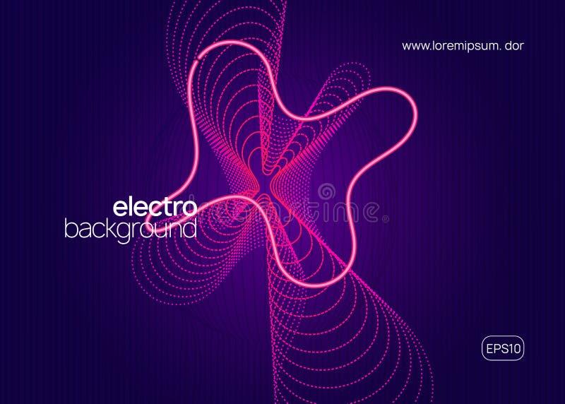 Neon techno event flyer Música de dança eletrônica Som eletrônico ilustração do vetor